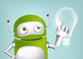 Green robot cartoon character concept illustration vector eps Royalty Free Stock Images