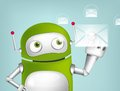 Green robot cartoon character concept illustration vector eps Stock Photos
