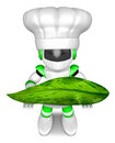 Green robot character holding big leaf create d humanoid robot series Royalty Free Stock Photo