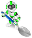 Green robot character holding big spoon create d humanoid robot series Stock Images