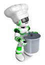 Green robot character is holding a saucepan with both hands cre create d humanoid series Stock Photos
