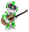 Green robot has been playing classical guitar create d humanoid robot series Stock Images