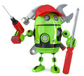 Green robot with tools. . Contains clipping path