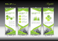 Green Roll Up Banner template and infographics, stand design