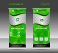 Green Roll up banner template vector, roll up stand, banner