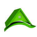 Green roof house with swoosh Stock Images