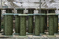Green rope bobbins with in the factory Royalty Free Stock Images