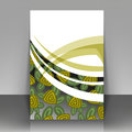 Green roses flyer design with stylized can be used as the cover of brochures Stock Image