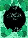 Green  roses greeting card Save the date