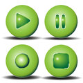 Green round buttons shiny for playback Stock Image