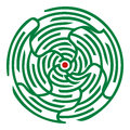 Green round maze white background Royalty Free Stock Photo