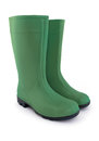 Green rubber boots on white background Stock Photo