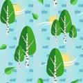 Green russian birch trees seamless vector pattern background