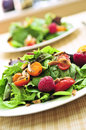 Green salad with berries and tomatoes Royalty Free Stock Photography