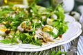 Green salad with chicken apple and eggs on wooden table Stock Photography