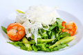 Green salad with king prawns Stock Photos