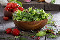 Green salad leaves in a wooden bowl Royalty Free Stock Photo