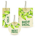 Green sale tags set Stock Images
