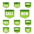 Green sales bio organic label tag labels isolated on white background Stock Images