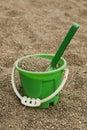 Green sand bucket Royalty Free Stock Photo