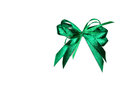 Green satin gift bow. Ribbon. Isolated on white Royalty Free Stock Photo