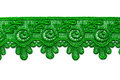 Green satin lace isolate on white background Royalty Free Stock Photos