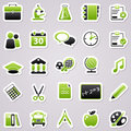 Green school stickers icons for web design Royalty Free Stock Images