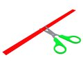 Green scissors cut the red ribbon Stock Photography