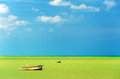 Green sea and boats two off the coast in a with a beautiful blue sky Royalty Free Stock Image