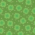 Green seamless background with shamrock Stock Images