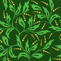 Green seamless floral pattern - vector Royalty Free Stock Photo