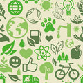 Green seamless pattern with ecology signs Stock Images
