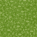 Green seamless pattern with leaves and flowers Stock Photos