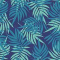 Green Seamless Pattern with Palm Leaves. Vector Summer Jungle Background. Tropical Texture