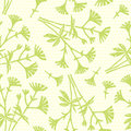 Green seamless pattern with small bouquets of flowers.