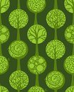 Green seamless pattern square composition with various trees on background can be used for wallpapers web page backgrounds or Royalty Free Stock Image