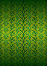 Green secession foliage pattern on yellow vector illustration Royalty Free Stock Image