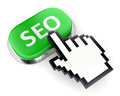 Green seo button and hand cursor web search optimization concept computer mouse pointer pushing with text on white background Royalty Free Stock Photography