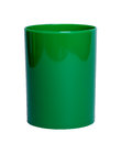 Green shiny plastic cup for pencil stock image white coffee tea or Royalty Free Stock Photography