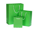 Green shopping bag gift bag isolated on white Stock Photo