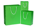 Green shopping bag gift bag isolated on white Stock Photos