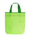 Green Shopping Bag with Handle on White Background Royalty Free Stock Photo