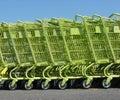 Green shopping carts Royalty Free Stock Images