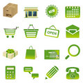 Green shopping icons set Royalty Free Stock Photography