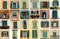 Green shutters collection Stock Photo
