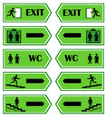 Green signs direction to the exit Royalty Free Stock Photo