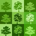 Green silhouettes of trees background with Stock Images