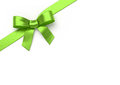 Green silk bow ribbon with Royalty Free Stock Images