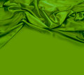 Green silk fabric background copy space Stock Image