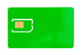 Green SIM card for a mobile phone with an empty space Royalty Free Stock Photo